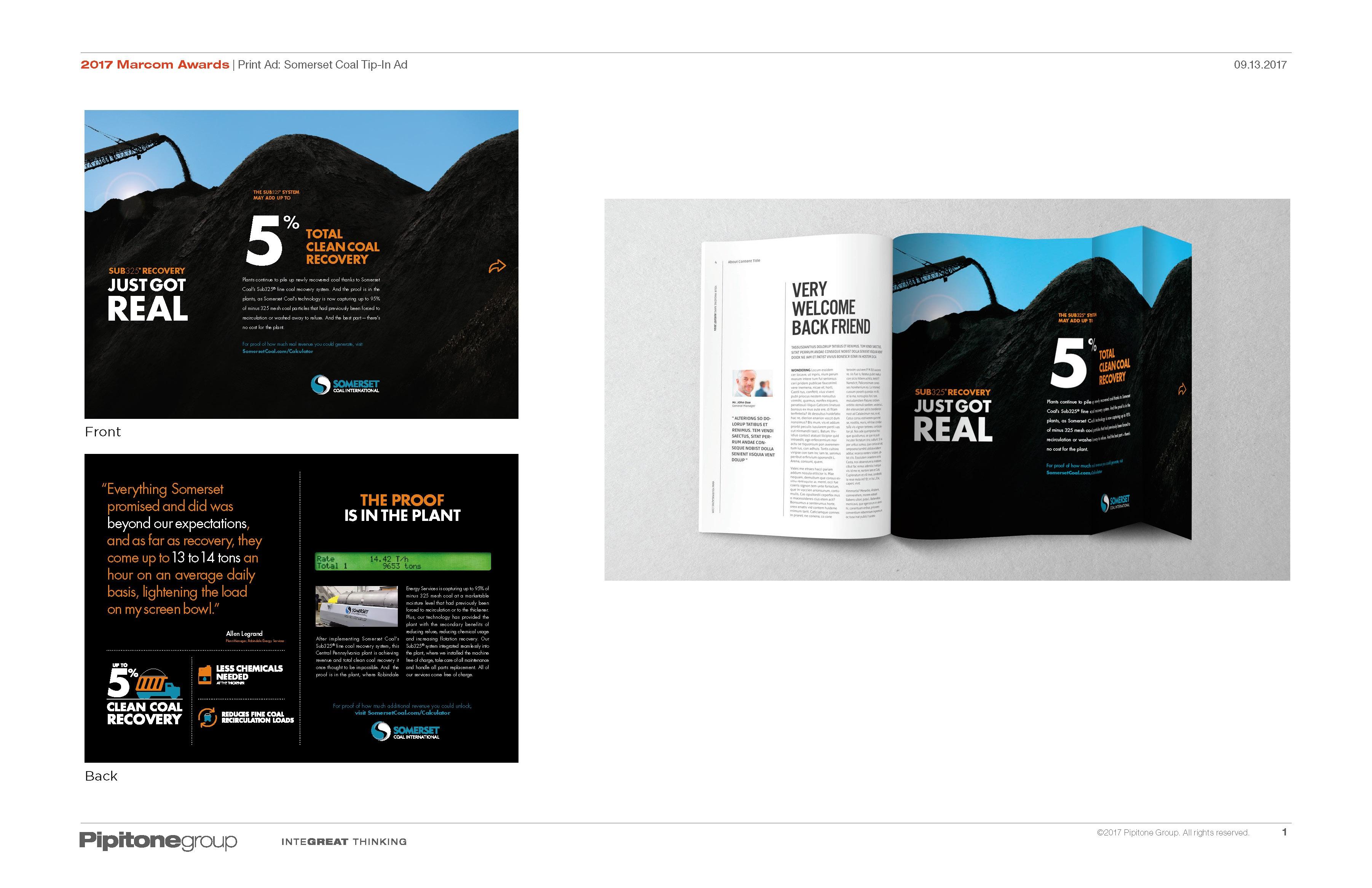 2017 Marcom Awards - Print Ad - Somerset Coal Tip-In Ad.jpg
